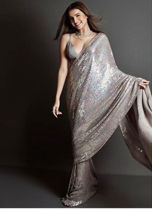 Grey New Launching Bamberg Georgette Bollywood Celebrity Saree