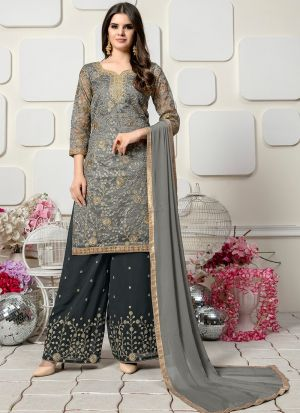Grey Organza Designer Palazzo Style Salwar Suit With Heavy Work