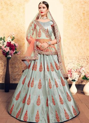 Grey Satin Designer Lehenga For Engagement