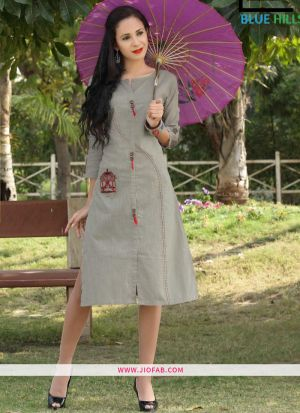 Grey Slub Cotton Fabric Stylish Kurta Embroidery Work