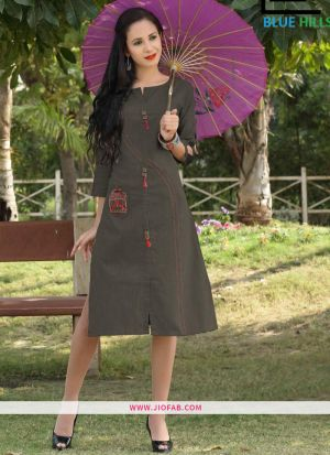 Grey Slub Cotton Fabric Stylish Kurti Embroidery Work