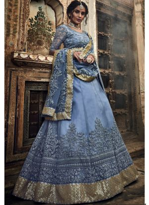 Grey Soft Net Designer Lehenga Choli For Sangeet
