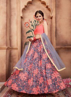 Grey Soft Net Florals Vol 2 Designer Lehenga Choli