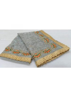 Grey Soft Net Heavy Embroidery Designer Traditional Saree