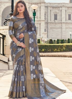 Grey Traditional South Indian Wedding Cotton Handloom Saree