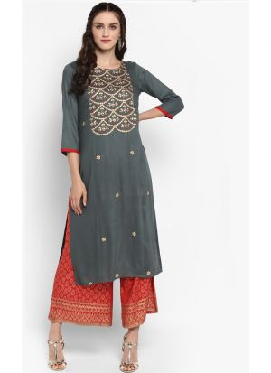Grey Viscose Rayon Party Wear Kurti