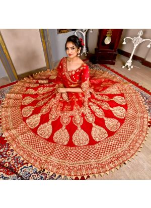 Gulkand Maroon Color Bridal Lehenga Choli With Velvet Fabric