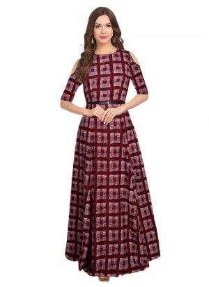 Half Sleeve Maroon Long Formal Gown