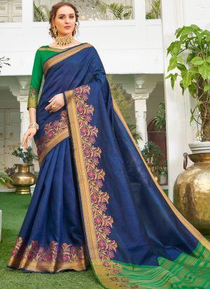 Handloom Silk Blue South Indian Saree