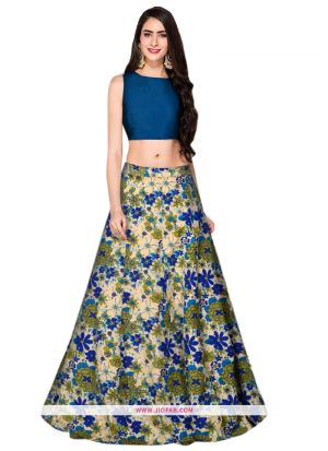 Heavy Bangalory Silk L-57 Bansi Blue Partywear Lehenga