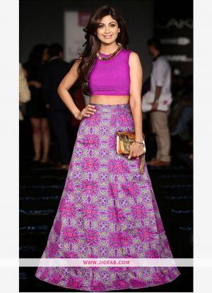Heavy Bangalory Silk Purple Anarkali Lehenga