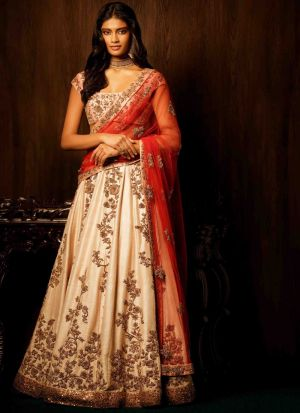 Heavy Embroidery Designer Lehenga Choli In Cream Color