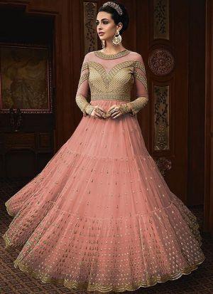 Heavy Net Baby Pink Designer Anarkali Salwar Suit