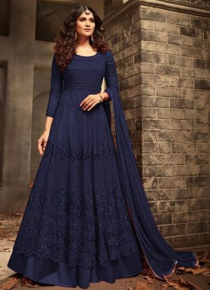 Heavy Net Navy Designer Floor Length Anarkali Suit