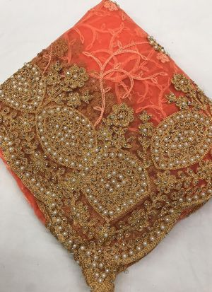 Heavy Net Peach Zari Work Wonderful Saree