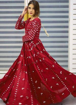 Heavy Taffeta Silk Festive Wear Mirror Work Gown