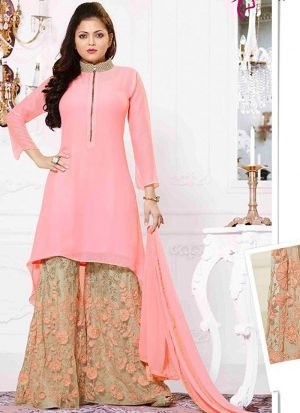High Neck Light Pink Georgette Plazo Suit With Embroidered