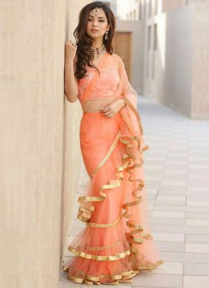 Highly Demanded Light Peach Altra Sattin Embroidered Designer Ruffle Saree