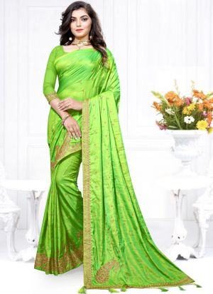 Highly Demanded Two Tone Vichitra Silk Embroidered Amazing Saree