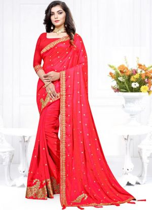 Highly Demanded Two Tone Vichitra Silk Embroidered Indian Saree