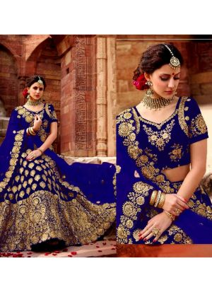 Higly Demanded Royal Blue Velvet Embroidered Bridal Lehenga Choli With Mono Net Dupatta
