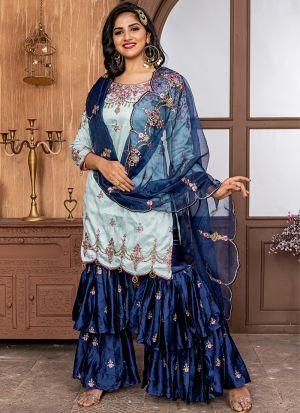 Ice Blue Ruby Sharara Style Salwar Suit
