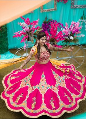 Impressive Dark Pink Lehenga Choli With Malbari Silk Fabric