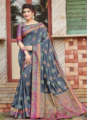 Impressive Wedding Wear Grey Thread Work Saree