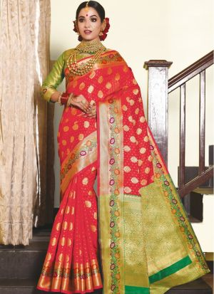 Impressive Wedding Wear Red Thread Work Saree