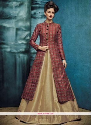 Indian Designer Maroon Phantom  Gown For Women
