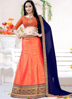 Indian Designer Milano Orange Lehenga Choli For Bridesmaid