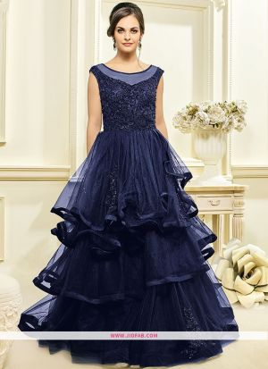 Indian Designer Navy Color Bridal Net Gown For Women
