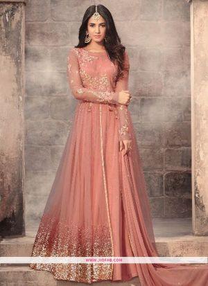 Indian Designer Partywear Anarkali Salwar Suit In Light Peach Color
