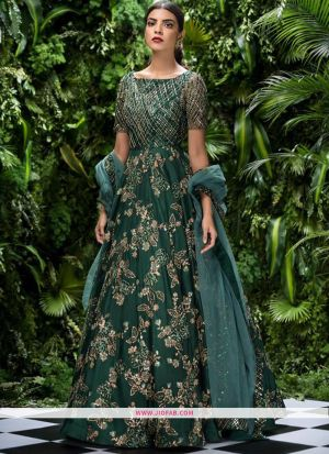 Indian Designer Pine Green Thai Silk Gown For Women