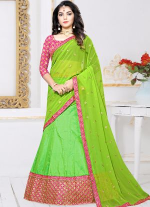 Indian Designer Sana Silk Green Lehenga Choli For Bridesmaid