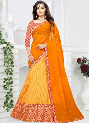Indian Designer Sana Silk Mustard Lehenga Choli For Bridesmaid