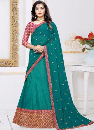 Indian Designer Sana Silk Rama Lehenga Choli For Bridesmaid