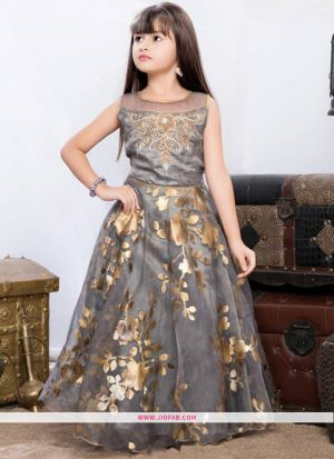Indian Ethnic Wear Gown In Grey Color For Little Girl