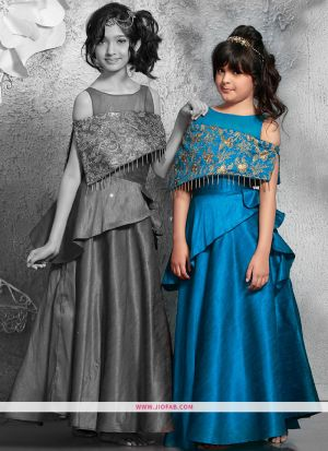 Indian Ethnic Wear Gown In Morpich Color For Little Girl