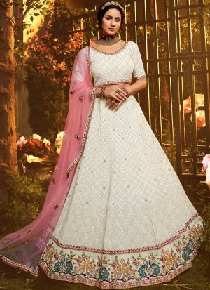 Indian Fashion White Georgette Lehenga Choli With Zari Work