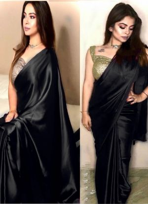 Indian Festive Wear Black Sequence Saree
