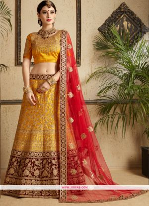Indian Festive Wear Mustard Satin Designer Bridal Lehenga Choli
