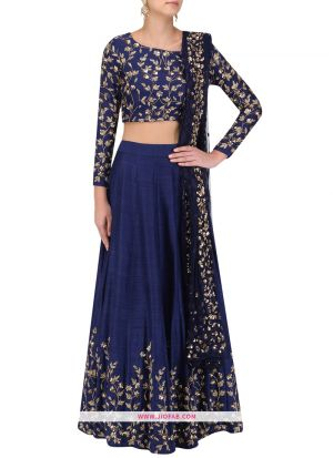 Indian Festive Wear Navy Art Silk Designer Traditional Lehenga Choli