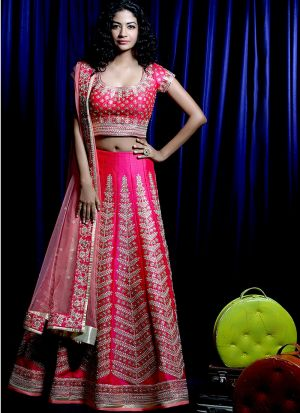 Indian Festive Wear Pink Heavy Embroidery Designer Traditional Lehenga Choli