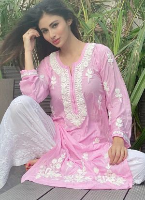 Indian Look Pink Chain Stitch Causal Wear Salwar Suit
