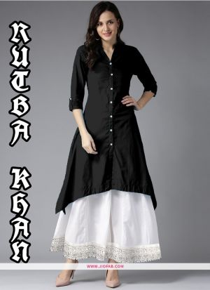 Indian Style Black Color Rayon Kurti With Palazzo