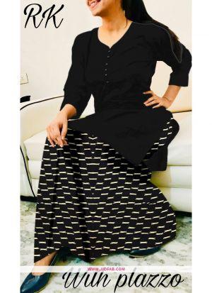 Indian Style Black Rayon Plain Kurti With Palazzo