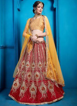 Indian Traditional Maroon Color Wedding Designer Bridal Lehenga Choli