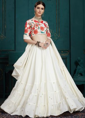 Indian Traditional White Designer Lehenga Choli