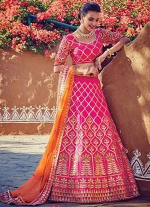 Indian Wear Pink Lehenga Choli With Fancy Dupatta